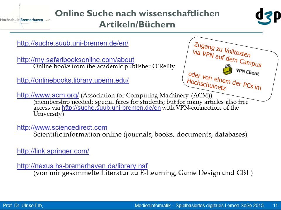 Online Suche nach wissenschaftlichen Artikeln/Büchern