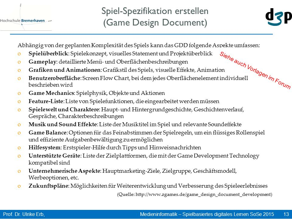 Spiel-Spezifikation erstellen (Game Design Document)