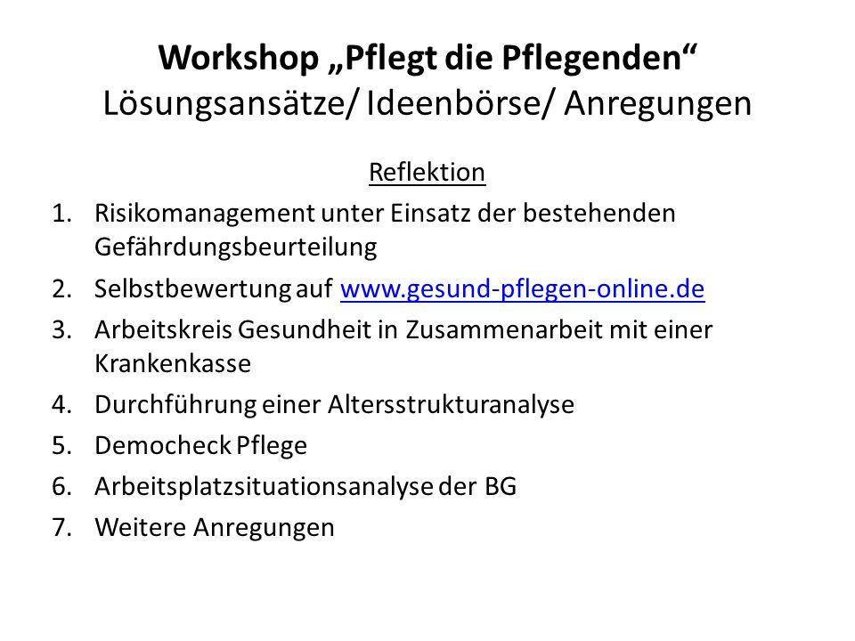 """Workshop """"Pflegt die Pflegenden Lösungsansätze/ Ideenbörse/ Anregungen"""