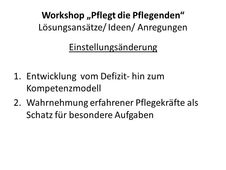 """Workshop """"Pflegt die Pflegenden Lösungsansätze/ Ideen/ Anregungen"""
