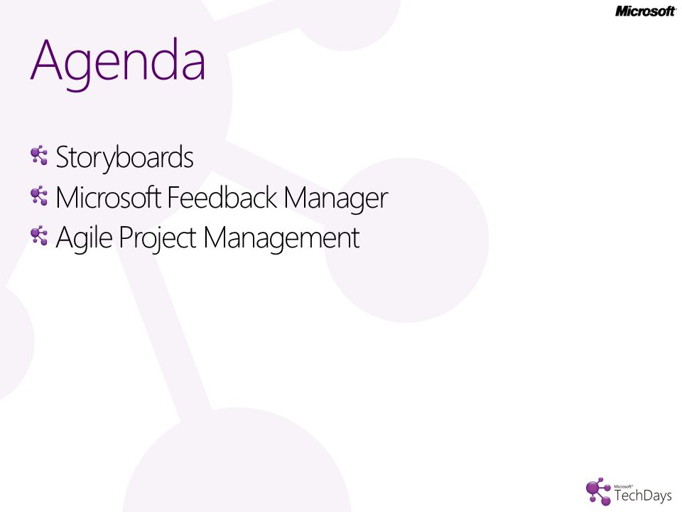 Agenda Storyboards Microsoft Feedback Manager Agile Project Management