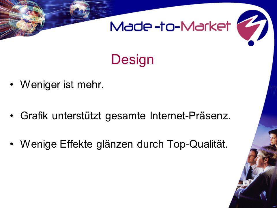 Design Weniger ist mehr. Grafik unterstützt gesamte Internet-Präsenz.