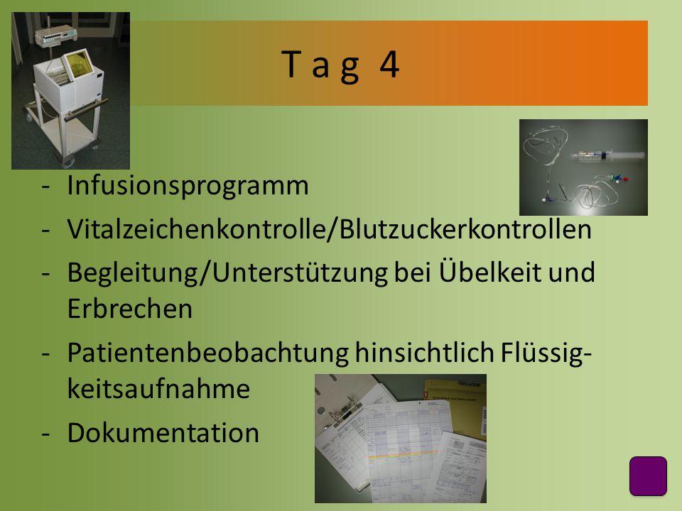 T a g 4 Infusionsprogramm Vitalzeichenkontrolle/Blutzuckerkontrollen
