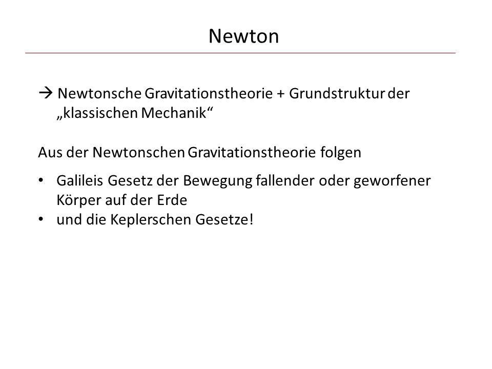 """Newton  Newtonsche Gravitationstheorie + Grundstruktur der """"klassischen Mechanik Aus der Newtonschen Gravitationstheorie folgen."""