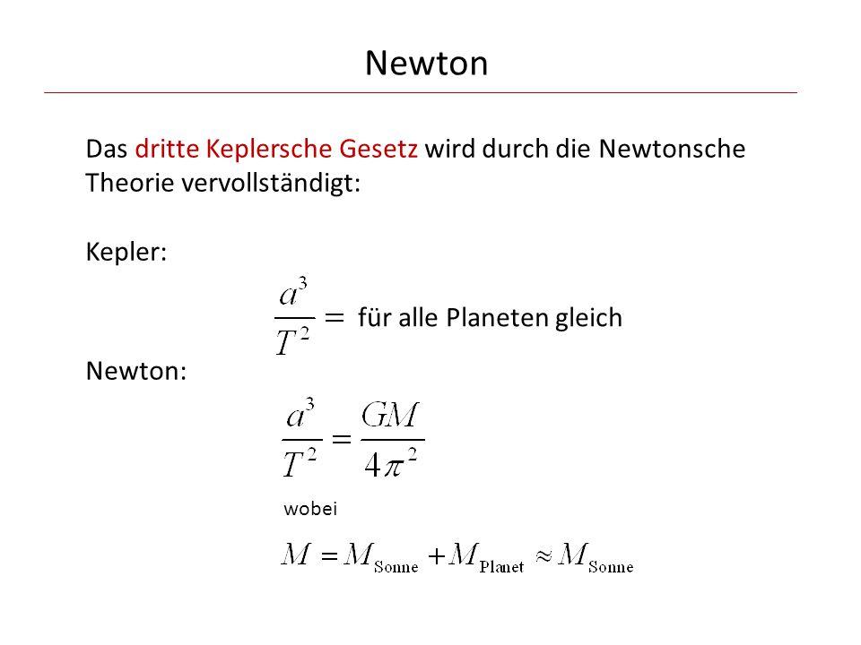 Newton Das dritte Keplersche Gesetz wird durch die Newtonsche Theorie vervollständigt: Kepler: Newton: