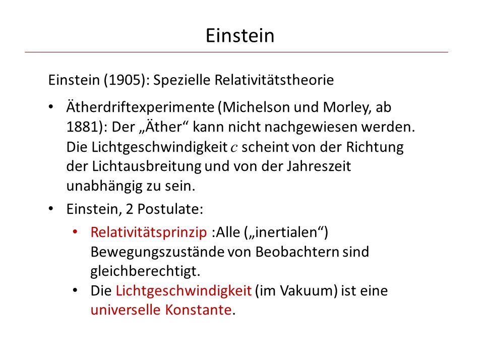 Einstein Einstein (1905): Spezielle Relativitätstheorie