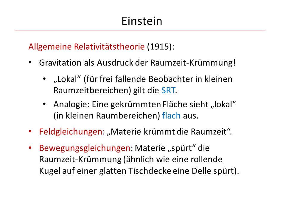 Einstein Allgemeine Relativitätstheorie (1915):
