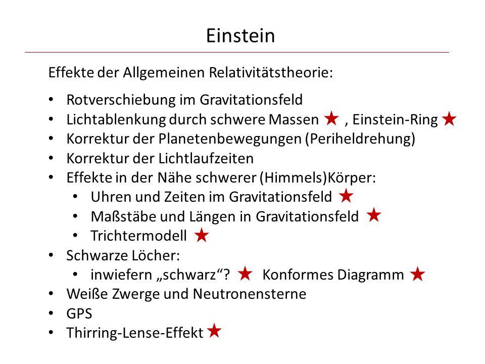 Einstein Effekte der Allgemeinen Relativitätstheorie: