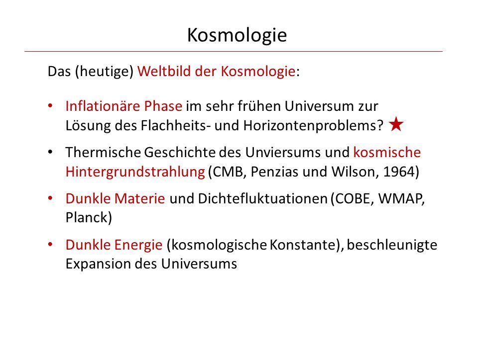 Kosmologie Das (heutige) Weltbild der Kosmologie: