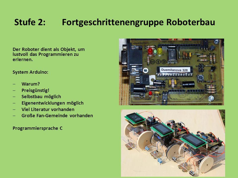 Stufe 2: Fortgeschrittenengruppe Roboterbau
