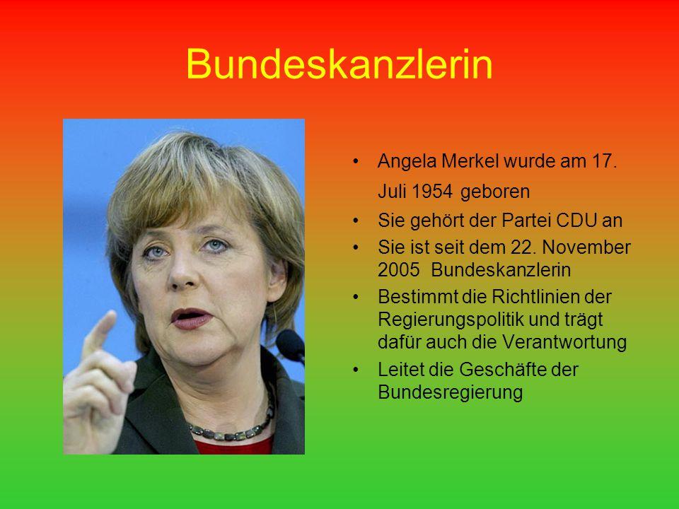 Bundeskanzlerin Angela Merkel wurde am 17. Juli 1954 geboren
