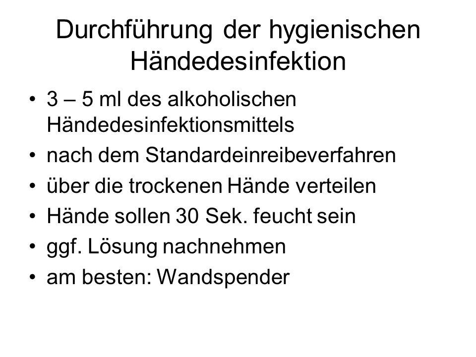 Durchführung der hygienischen Händedesinfektion