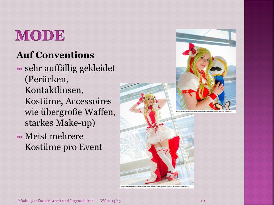 Mode Auf Conventions. sehr auffällig gekleidet (Perücken, Kontaktlinsen, Kostüme, Accessoires wie übergroße Waffen, starkes Make-up)