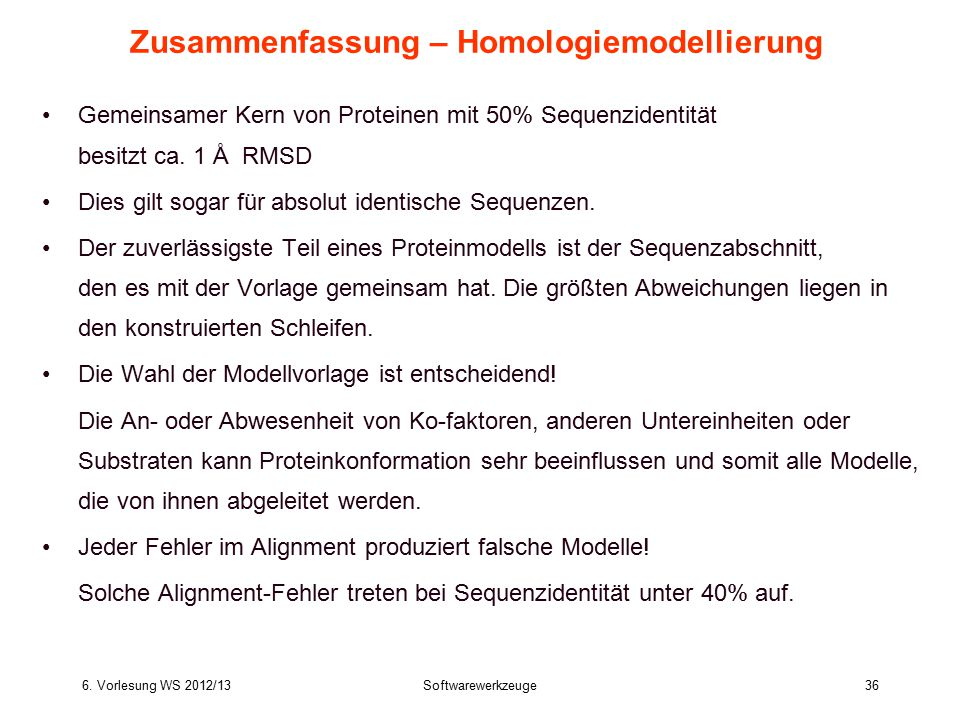 Zusammenfassung – Homologiemodellierung