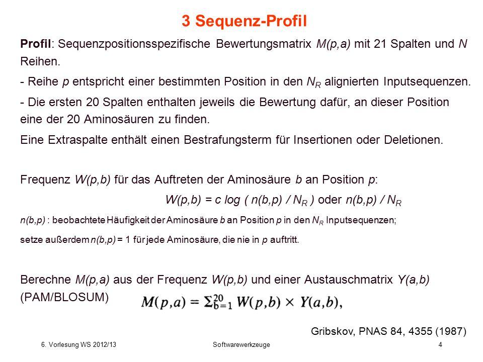 3 Sequenz-Profil Profil: Sequenzpositionsspezifische Bewertungsmatrix M(p,a) mit 21 Spalten und N Reihen.