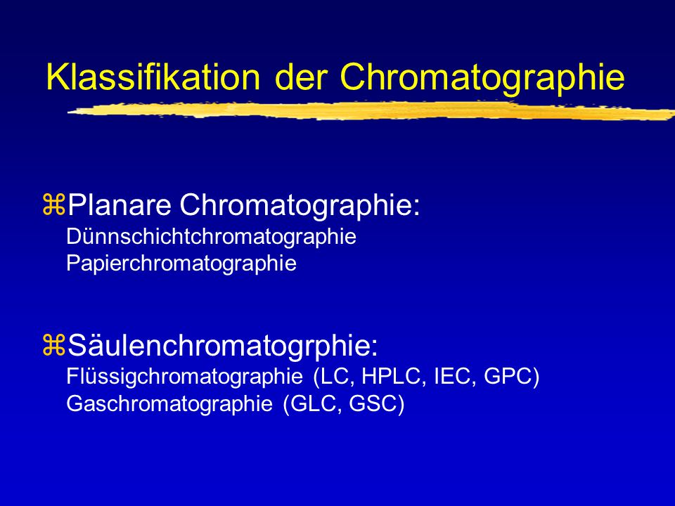 Klassifikation der Chromatographie