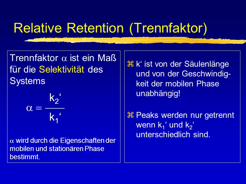 Relative Retention (Trennfaktor)