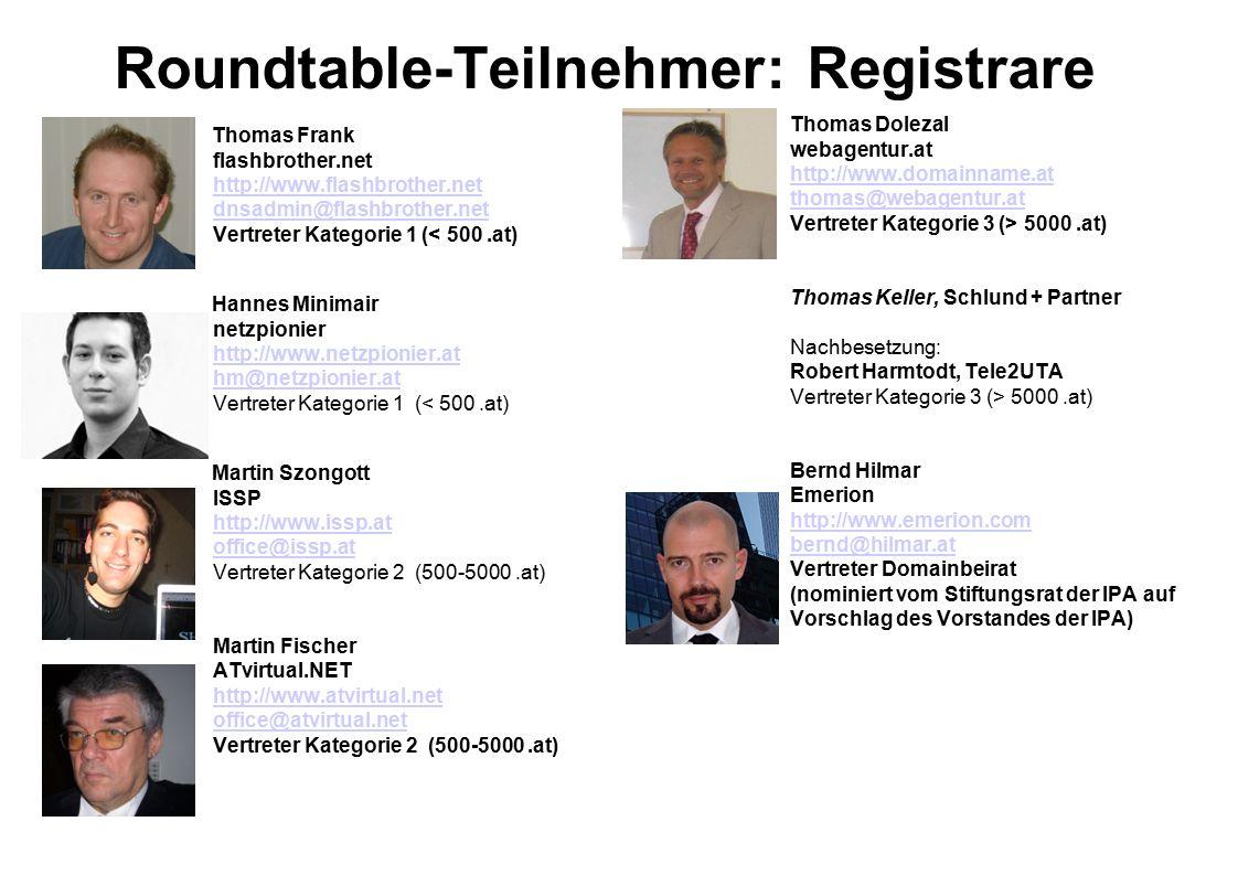 Roundtable-Teilnehmer: Registrare