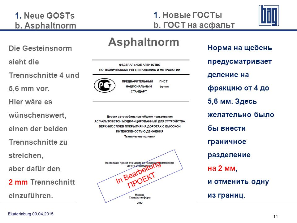 Asphaltnorm 1. Neue GOSTs b. Asphaltnorm