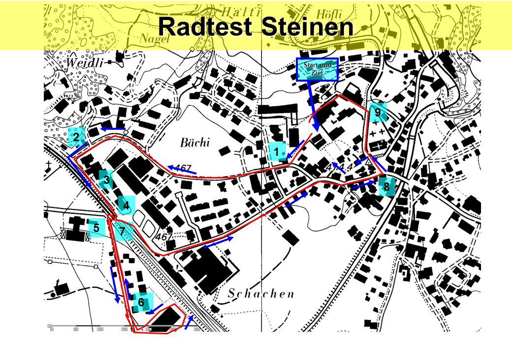 Radtest Steinen Start und Ziel 9 2 1 3 8 4 5 7 6