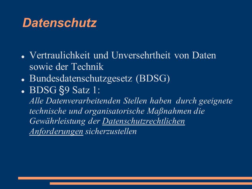 Datenschutz Vertraulichkeit und Unversehrtheit von Daten sowie der Technik. Bundesdatenschutzgesetz (BDSG)