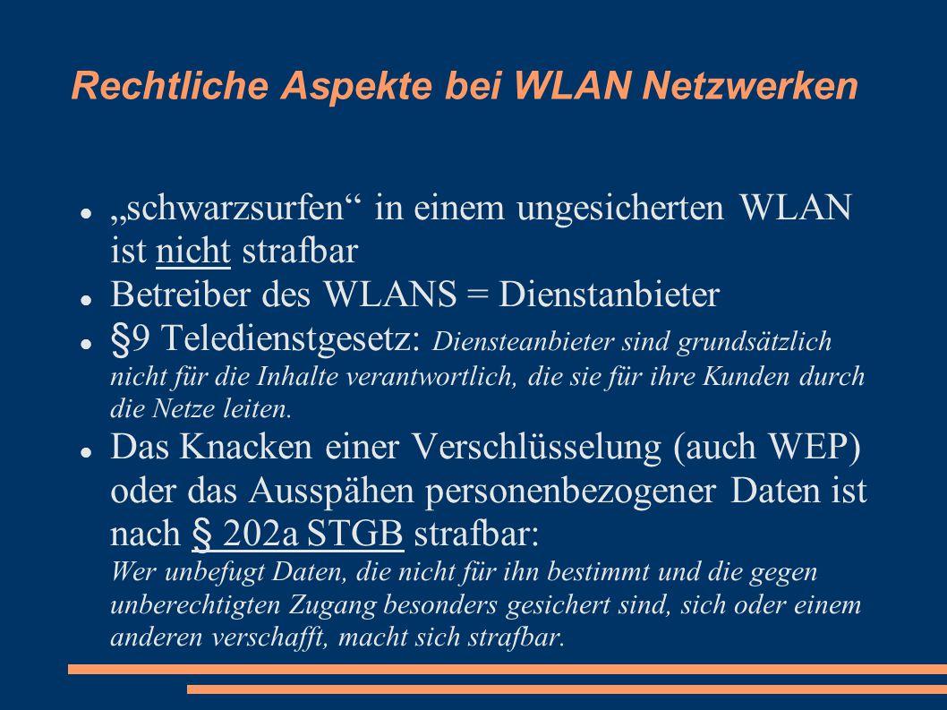 Rechtliche Aspekte bei WLAN Netzwerken
