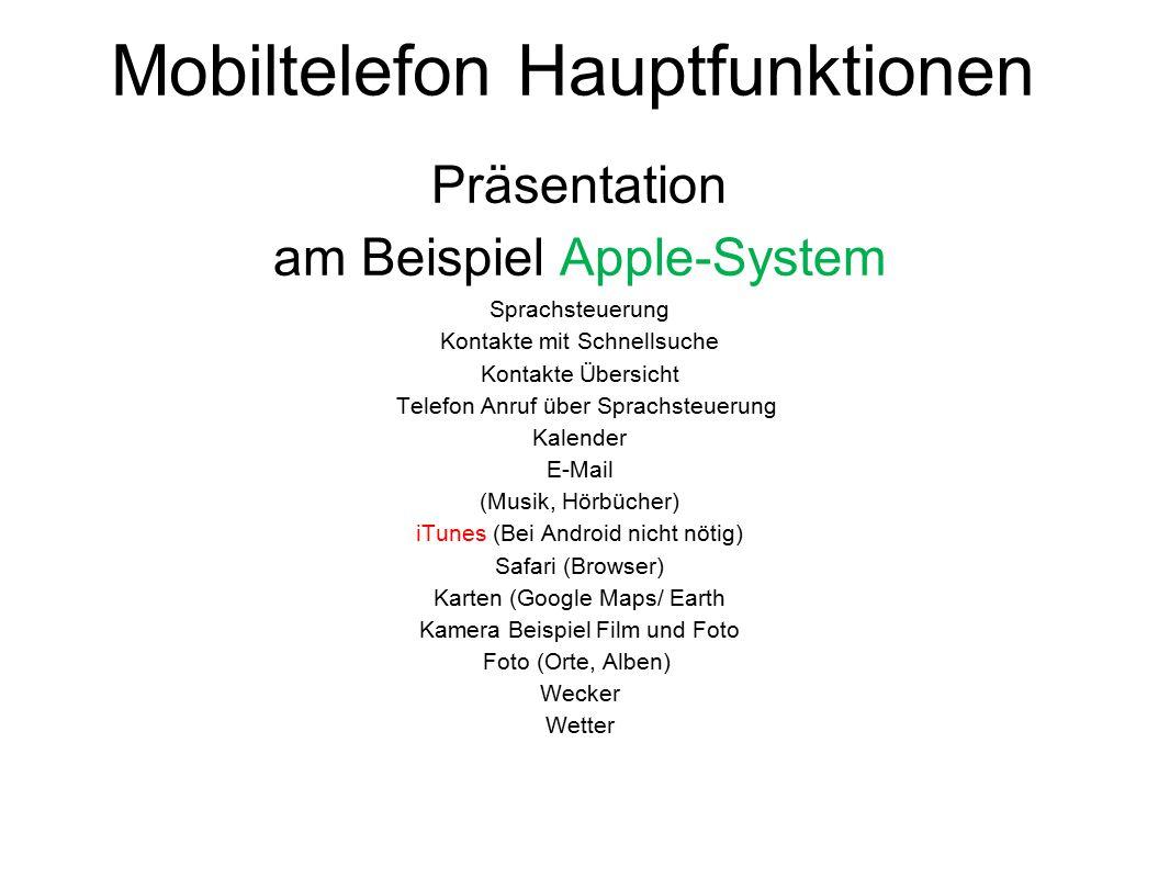 Mobiltelefon Hauptfunktionen