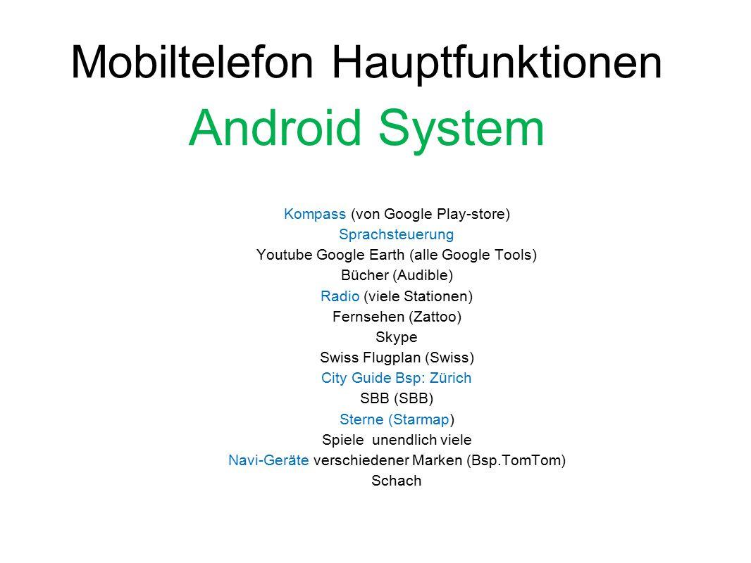 Android System Mobiltelefon Hauptfunktionen
