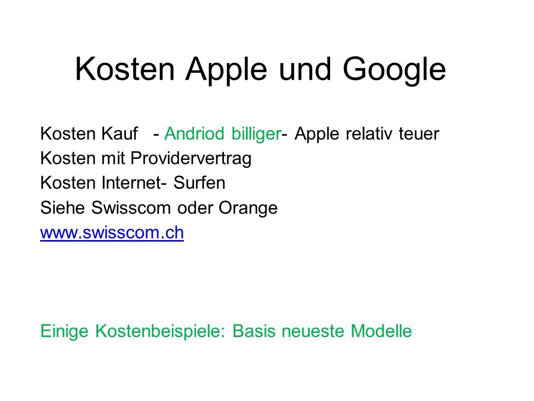 Kosten Apple und Google