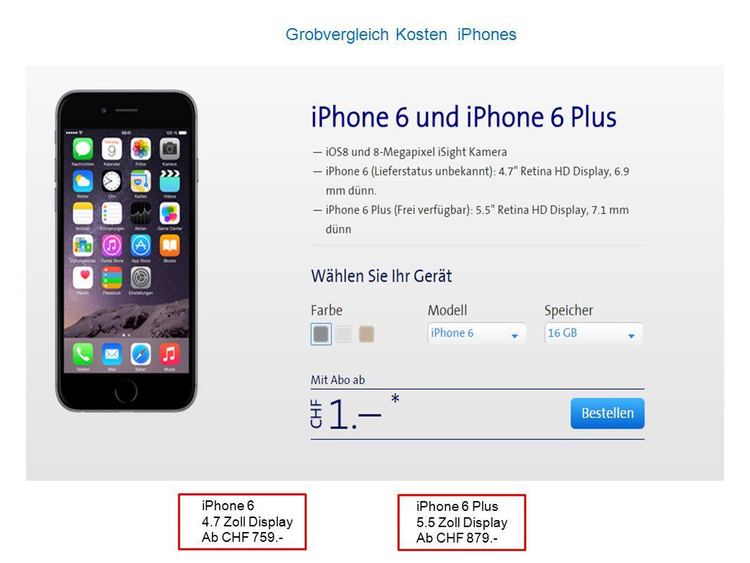 Grobvergleich Kosten iPhones