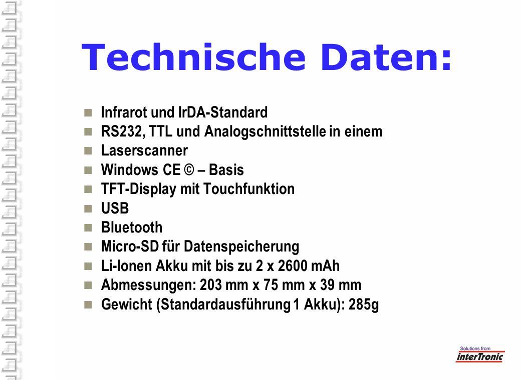 Technische Daten: Infrarot und IrDA-Standard