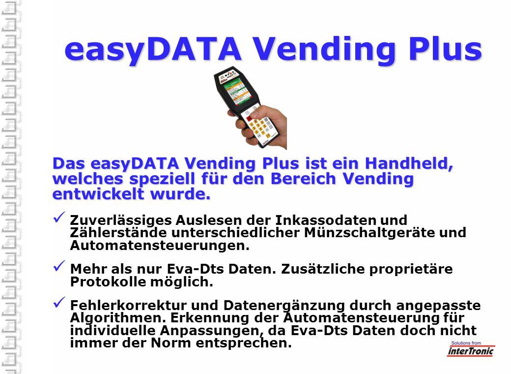 easyDATA Vending Plus Das easyDATA Vending Plus ist ein Handheld, welches speziell für den Bereich Vending entwickelt wurde.