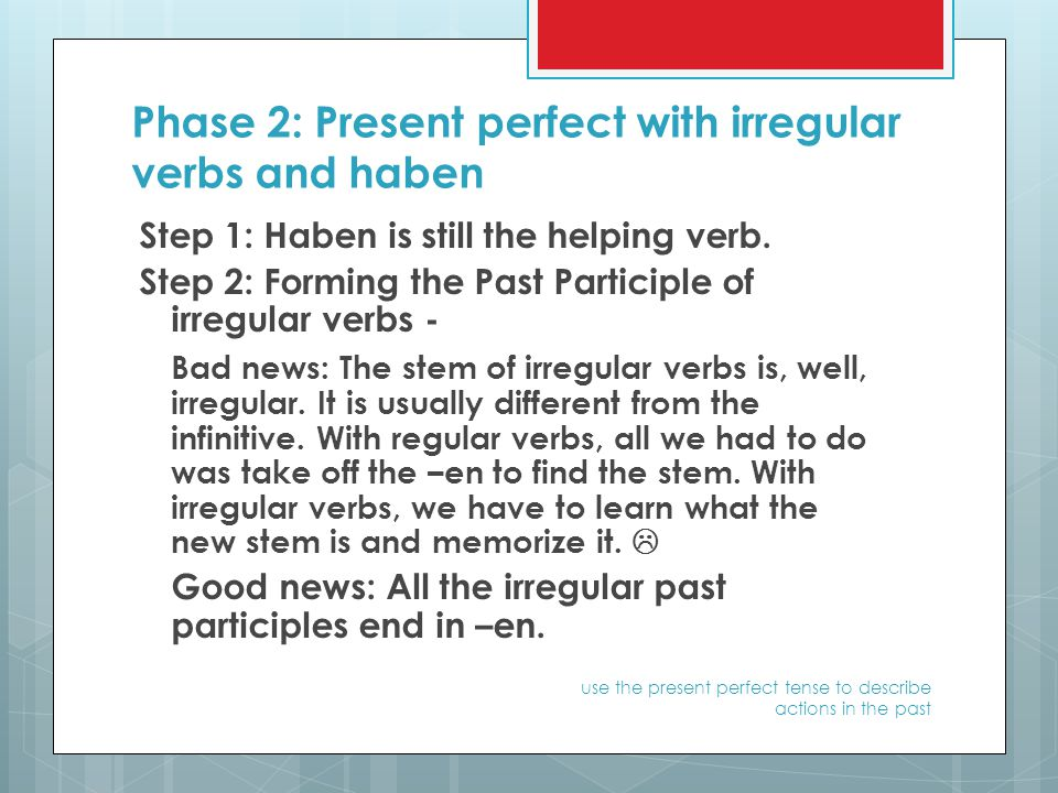 Phase 2: Present perfect with irregular verbs and haben