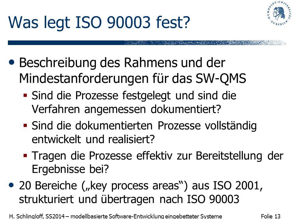 Was legt ISO 90003 fest Beschreibung des Rahmens und der Mindestanforderungen für das SW-QMS.