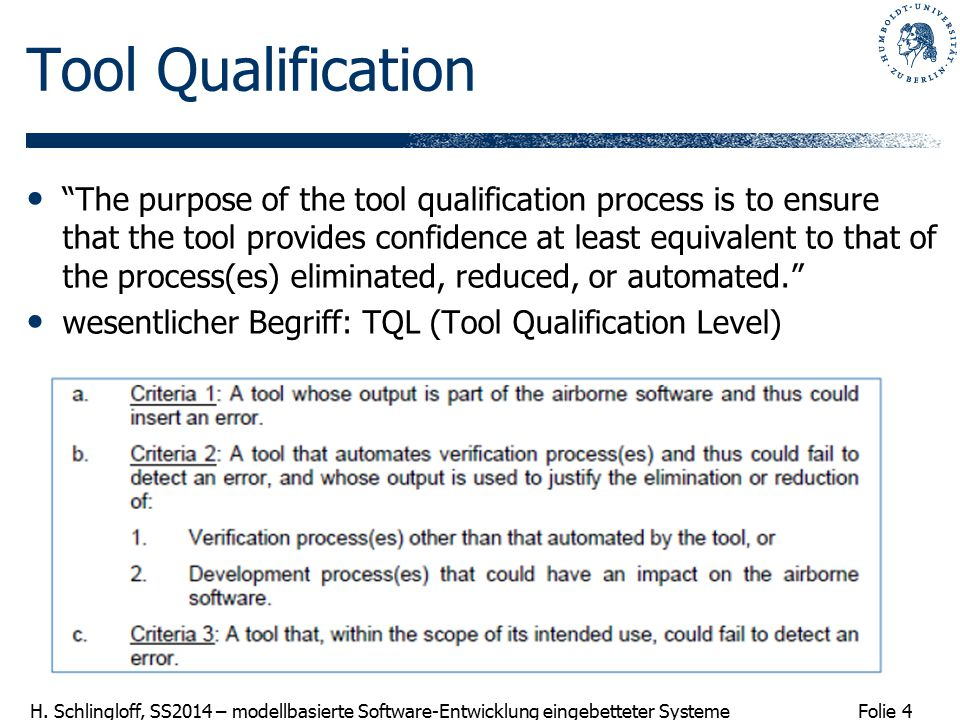 Tool Qualification
