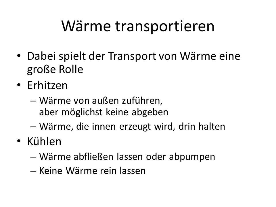 Wärme transportieren Dabei spielt der Transport von Wärme eine große Rolle. Erhitzen. Wärme von außen zuführen, aber möglichst keine abgeben.