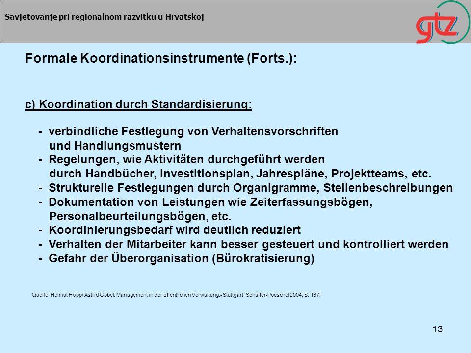 Formale Koordinationsinstrumente (Forts.):