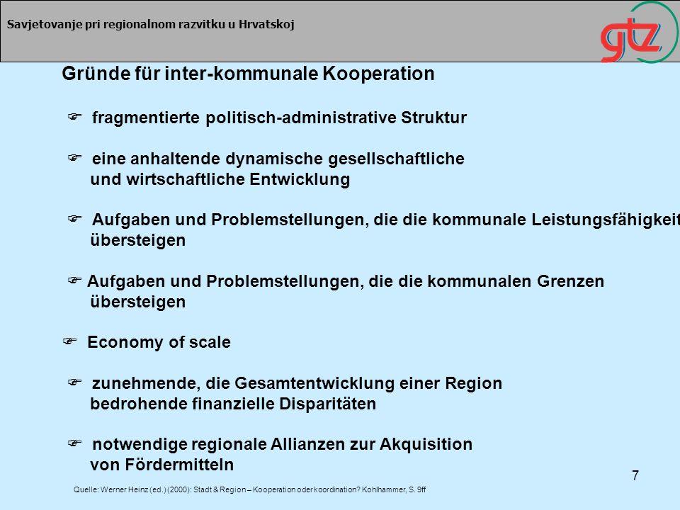Gründe für inter-kommunale Kooperation