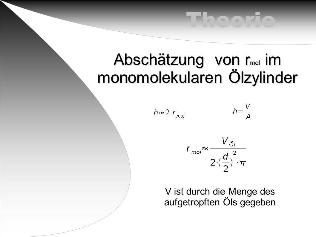 Theorie Abschätzung von rmol im monomolekularen Ölzylinder