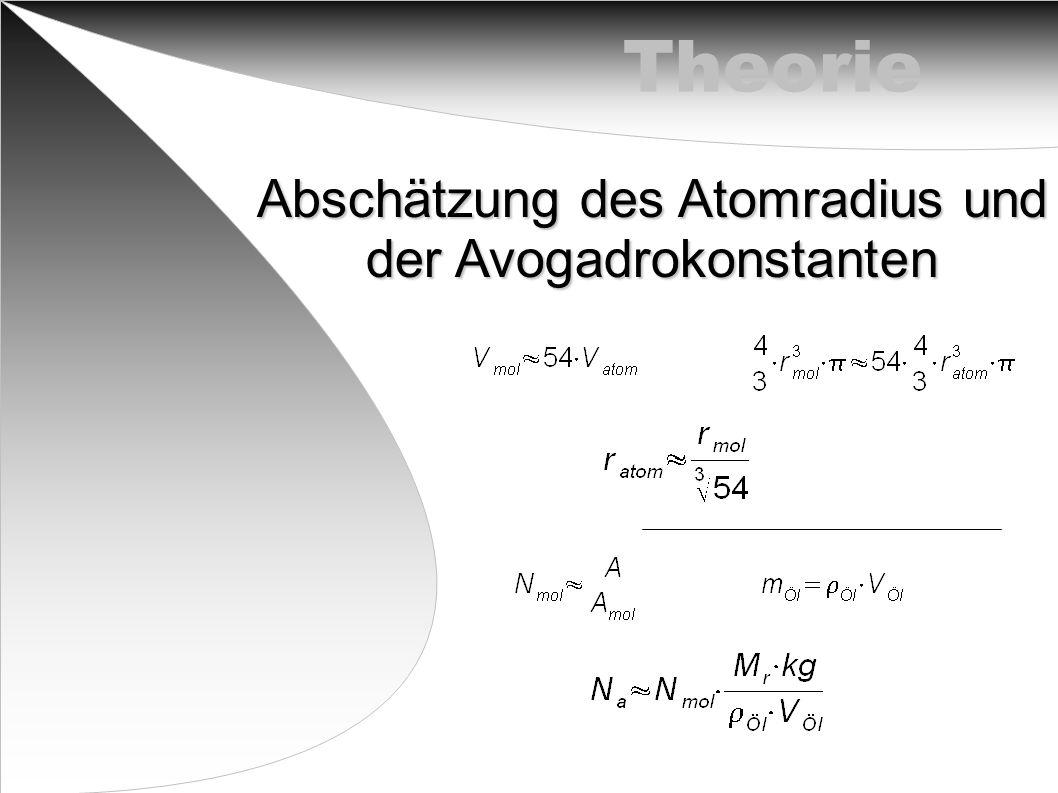 Abschätzung des Atomradius und der Avogadrokonstanten