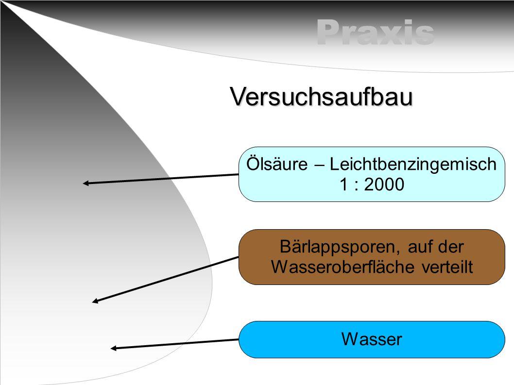 Praxis Versuchsaufbau Ölsäure – Leichtbenzingemisch 1 : 2000