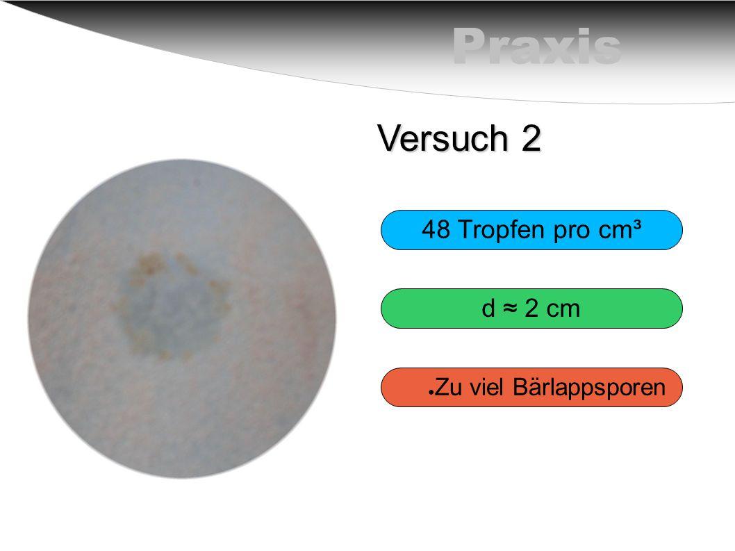 Praxis Versuch 2 48 Tropfen pro cm³ d ≈ 2 cm Zu viel Bärlappsporen