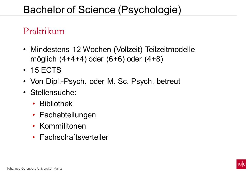 Bachelor of Science (Psychologie)