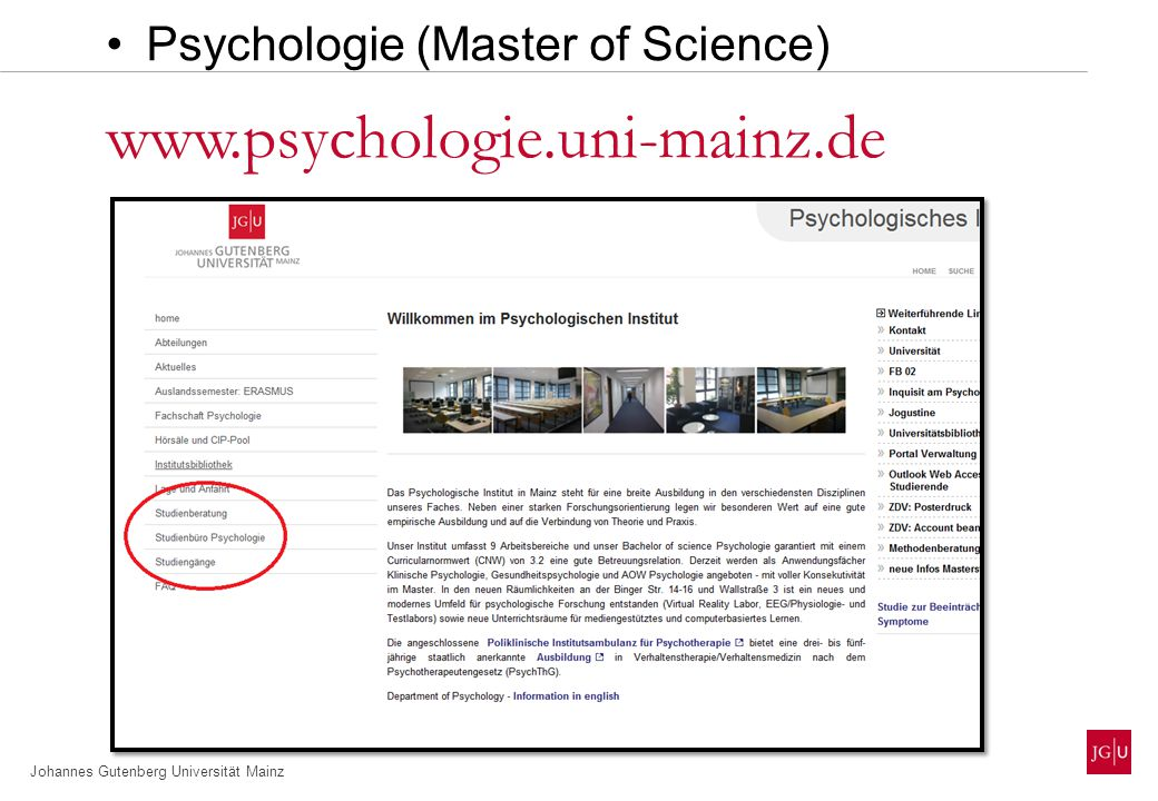 www.psychologie.uni-mainz.de Psychologie (Master of Science)