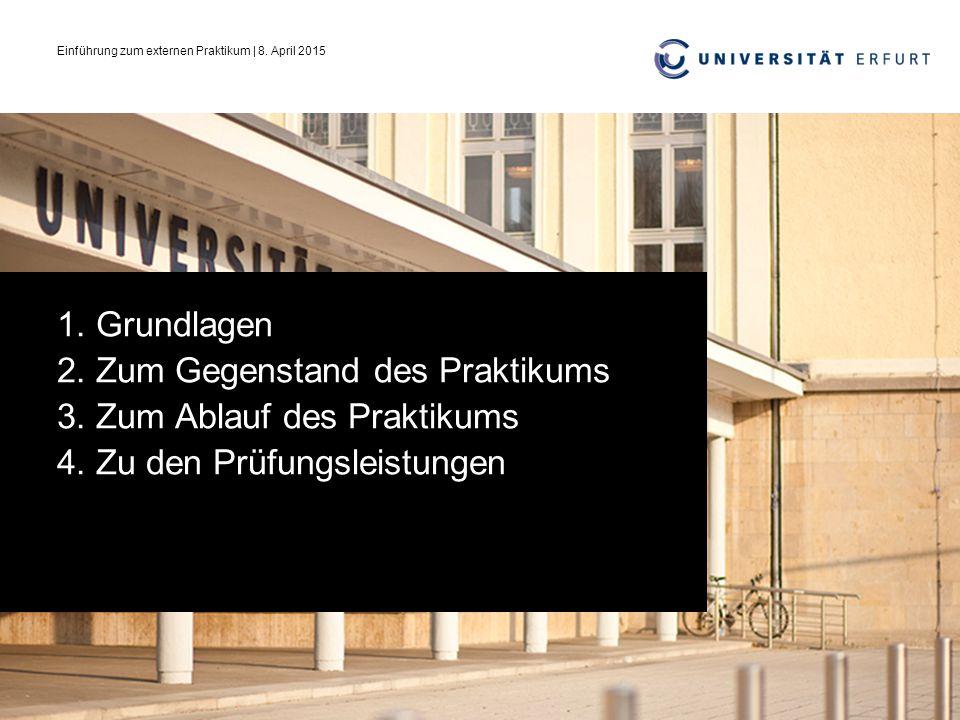Einführung zum externen Praktikum | 8. April 2015
