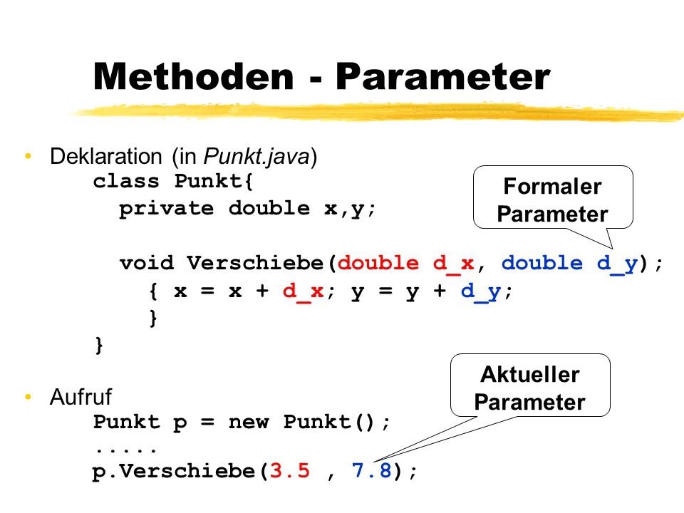 Methoden - Parameter Deklaration (in Punkt.java) class Punkt{