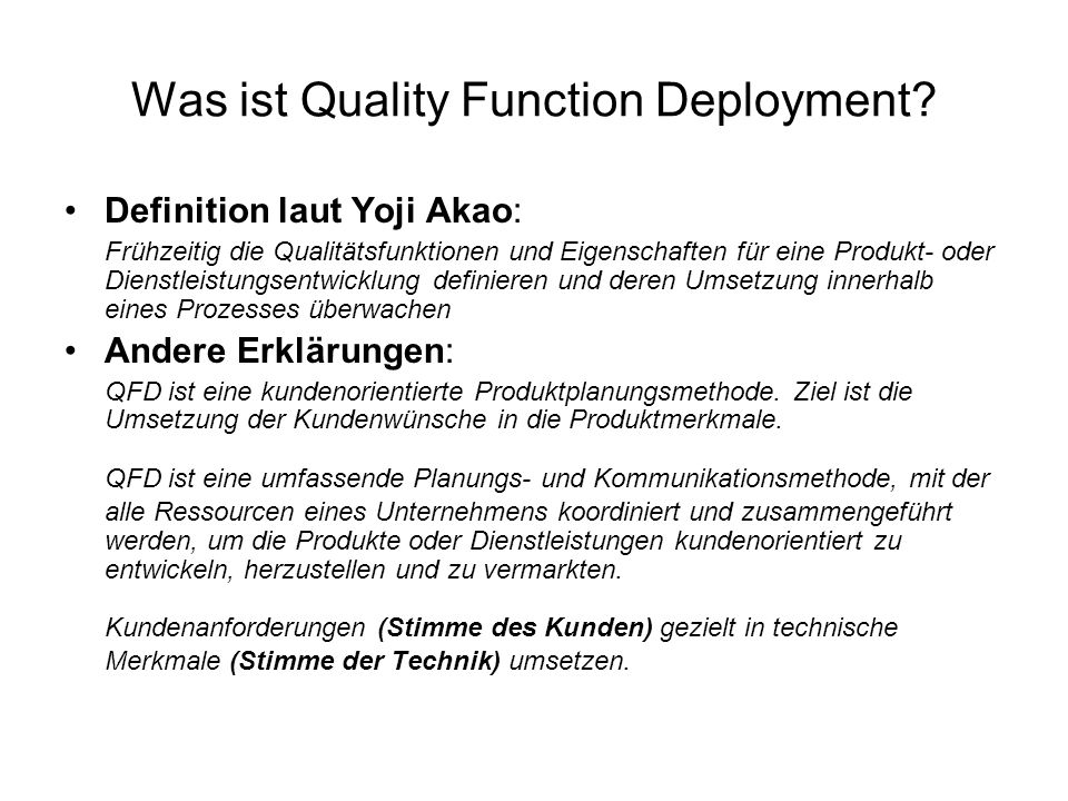 Was ist Quality Function Deployment