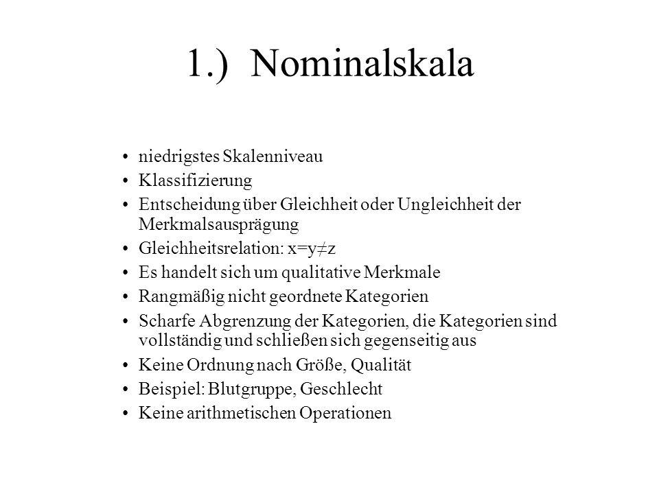 1.) Nominalskala niedrigstes Skalenniveau Klassifizierung