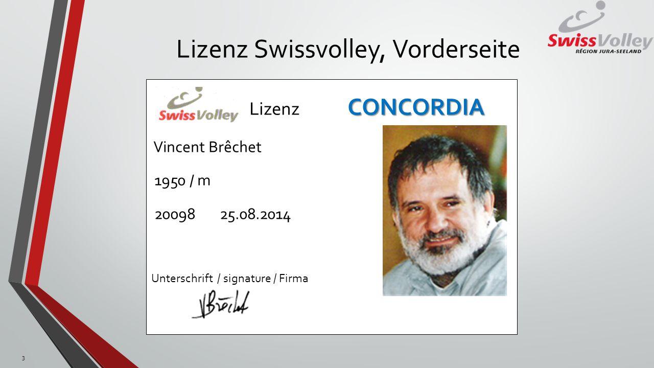 Lizenz Swissvolley, Vorderseite
