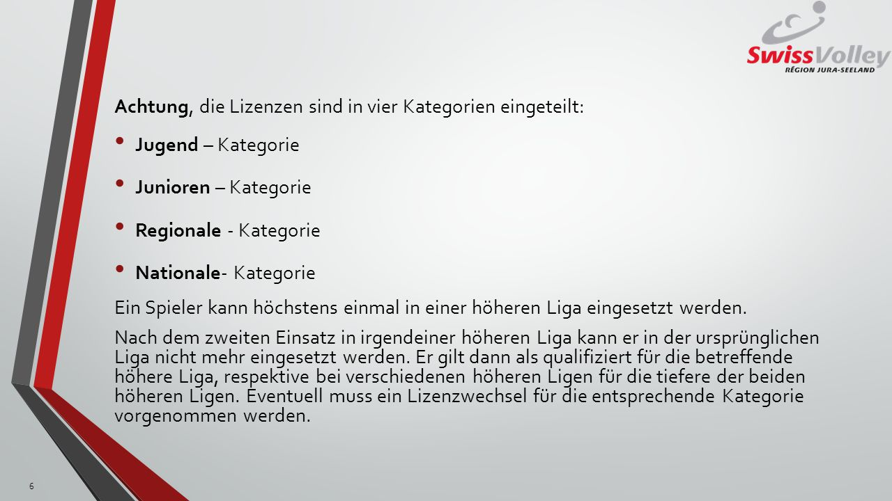 Achtung, die Lizenzen sind in vier Kategorien eingeteilt: